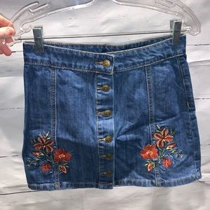 Embroidered Button-Front Denim Skirt